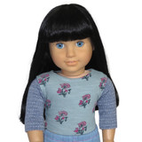 Fits: 18 inch American Girl doll  Includes: top  Fun, boho, mixed-print knit top in dusty aqua and periwinkle blue.  Velcro closure in back.