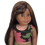"""N35.  Black, coral, and green floral crop tank top for 18"""" dolls."""