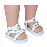 "WSH01.  White Flower Sandals for 14"" Dolls."