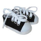 """WSH20.  Black Sneakers for 14"""" Dolls."""