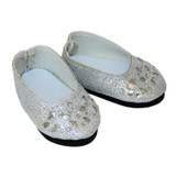 """WSH10.  Silver Flower Cut-Out Flats for 14"""" Dolls."""
