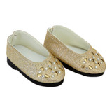 """WSH60.  Gold Flower Cut-Out Flats for 14"""" Dolls."""