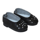 Fits 14 inch dolls like Wellie Wishers  Includes: shoes  Black glitter flats with cut-out flowers and rhinestones.