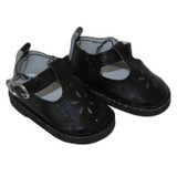 """WSH22.  Black T-Strap Shoes for 14"""" Dolls."""