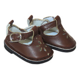 """WSH17.  Brown T-Strap Shoes for 14"""" Dolls."""