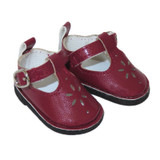 """WSH59.  Burgundy T-Strap Shoes for 14"""" Dolls."""