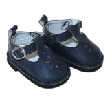 """WSH82.  Navy T-Strap Shoes for 14"""" Dolls."""