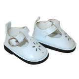 """WSH02. White T-Strap Shoes for 14"""" Dolls"""