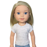 """WT21.  Heather Gray Tee for 14"""" Dolls."""