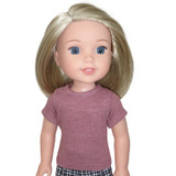 Mauve pink tee t-shirt for 14 inch Wellie Wisher dolls.