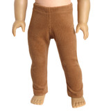 Camel brown knit corduroy leggings with elastic waist for 18 inch American Girl doll.