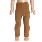 Camel brown corduroy leggings for 14 inch Wellie Wishers dolls.