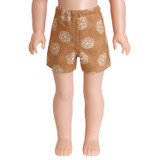 """Fits 14"""" dolls like Wellie Wishers  Includes: shorts  Camel brown shorts with white floral print and elastic waist."""
