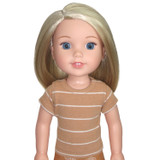 """WT11.  Camel Striped Tee for 14"""" Dolls."""