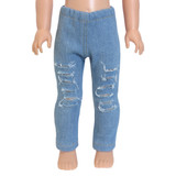 """WL80.  Distressed Jeans for 14"""" Dolls."""