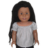 Gray striped peasant top for 18 inch American Girl dolls.