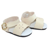"""Fits: 14"""" dolls like Wellie Wishers  Includes: sandals  Matte cream sandals with cut-out flowers, gold functional buckles, and black foam soles."""