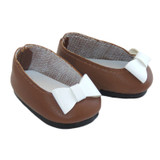"""Fits: 14"""" dolls like Wellie Wishers  Includes: shoes  Matte brown flats with white bows."""