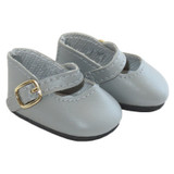 """Fits: 14"""" dolls like Wellie Wishers  Includes: shoes  Matte gray Mary Janes with functional gold buckles."""