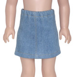 """Fits 14"""" dolls like WellieWishers.  Includes: skirt  Light wash denim skirt with gold thread trim and elastic waist."""