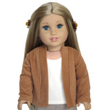 """Fits 18"""" dolls like American Girl doll  Includes: cardigan only  Camel brown ribbed knit open-front cardigan."""