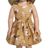 """Fits: 14"""" dolls like Wellie Wishers  Includes: dress  Golden yellow cotton dress with brown and white floral print.  Velcro closure in back."""