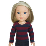"""Fits 14"""" dolls like WellieWishers  Includes: top  Burgundy and navy blue knit striped top with long sleeves and Velcro closure in back."""