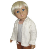 """CD07.  Cream open-front cardigan for 18"""" dolls."""