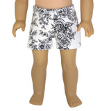 """Fits 18"""" dolls  Includes: shorts  White shorts with black floral print and elastic waist."""