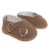18 inch doll shoes.  Brown suede buckle shoes.