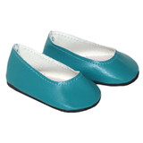 """Fits 18"""" dolls like American Girl doll Includes: shoe Matte turquoise slip-on flats."""
