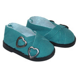 """Fits: 18"""" dolls like American Girl doll Includes: shoes Teal suede slip-on shoes with decorative gold buckles."""