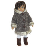 """Fits 18"""" dolls like American Girl. Includes: coat only Brown and gray coat with decorative buttons, faux fur trim, and Velcro closure in front."""