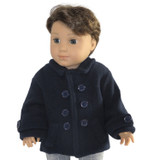 """Fits 18"""" dolls like American Girl. Includes: coat only Navy fleece coat with decorative buttons and Velcro closure in front."""