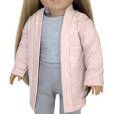 """Fits 18"""" dolls like American Girl doll  Includes: cardigan only  Heather pink knit open-front cardigan."""