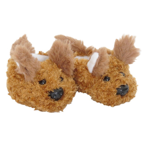 Brown Puppy Dog Slippers for American Girl or Boy Doll