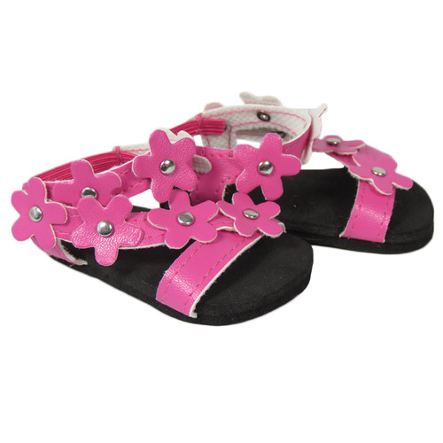 Dark Pink Flower Sandals for 18 inch dolls.