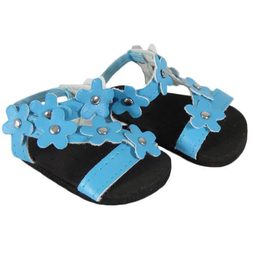 Turquoise Flower Sandals for 18 AG dolls.