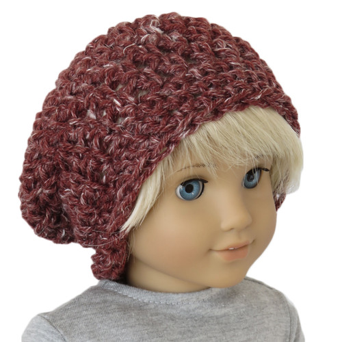 American Girl doll hat - Slouch Beanie - Rustic Romantic Red Roads