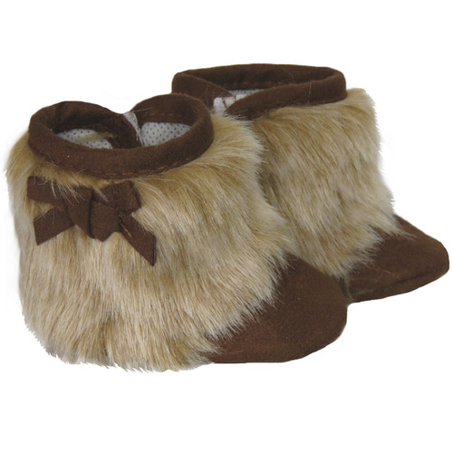 Brown fur boots with bows for 18 inch dolls like American Girl or Our Generation.