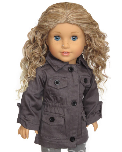 Gray jacket for 18-inch dolls.
