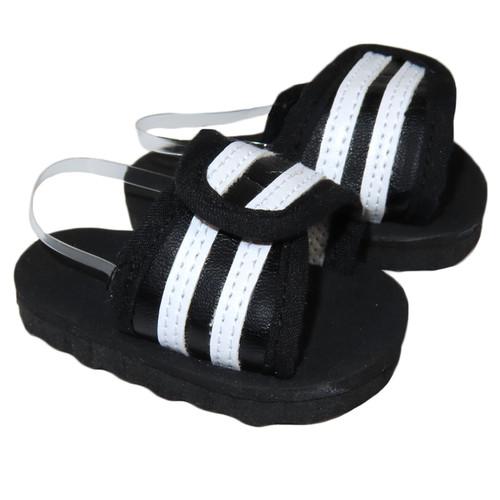 Black and White Slide Sandals