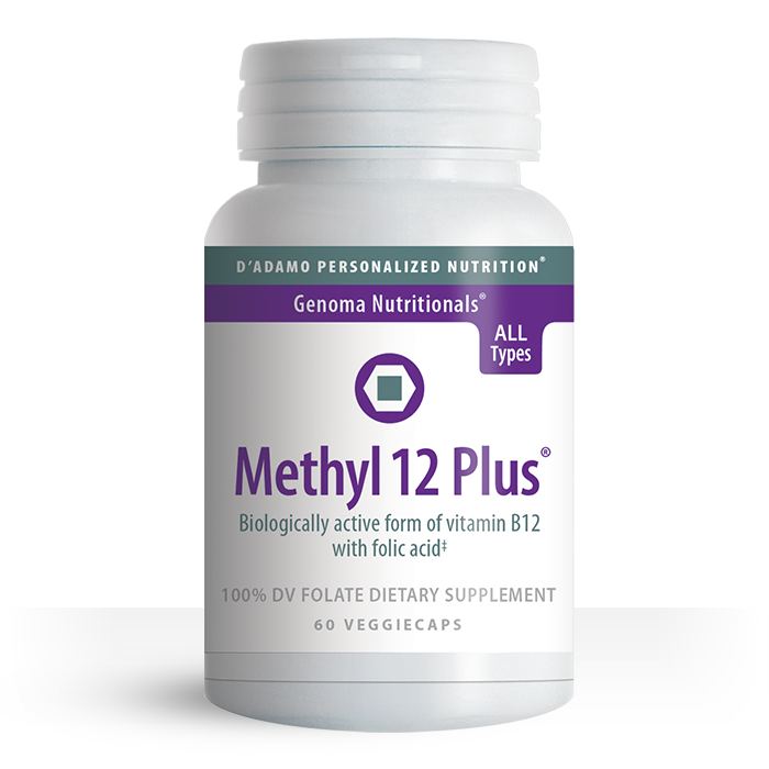 Maintain your natural energy levels with our exclusive Methyl B-12 formula. Designed by Dr. Peter J. D'Adamo, Methyl 12 Plus contains two biologically active forms of B-12 with folate for maximum bioavailablity.