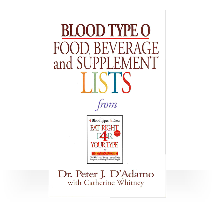 These Eat Right 4 Your Type Portable and Personal Blood Type Guides are pocket-sized and user-friendly.  They serve as a handy reference tool while shopping, cooking, and eating out. Each book contains the food, beverage, and supplement list for each blood type plus handy tips and ideas for incorporating The Blood Type Diet into your daily life.