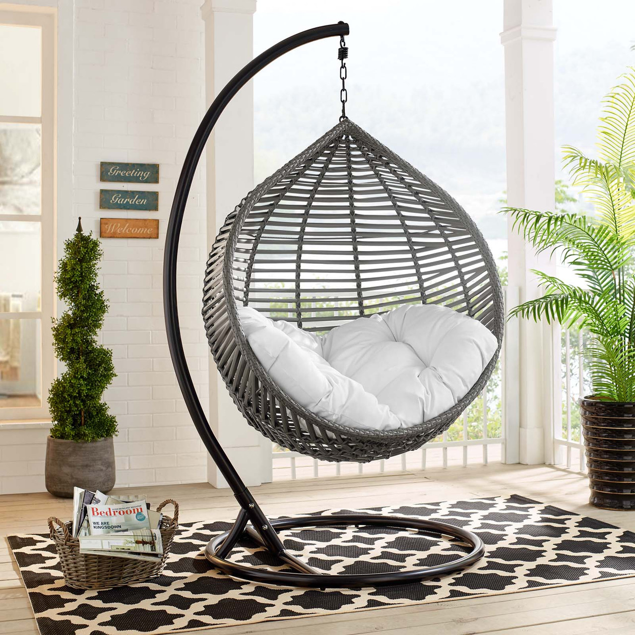 Picture of: Garner Teardrop Outdoor Patio Swing Chair Gray White Eei 3614 Gry Whi Furniture East Inc