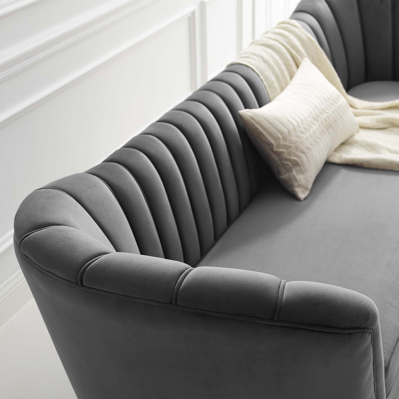 Picture of: Opportunity Vertical Channel Tufted Curved Performance Velvet Sofa Gray Eei 3453 Gry Furniture East Inc