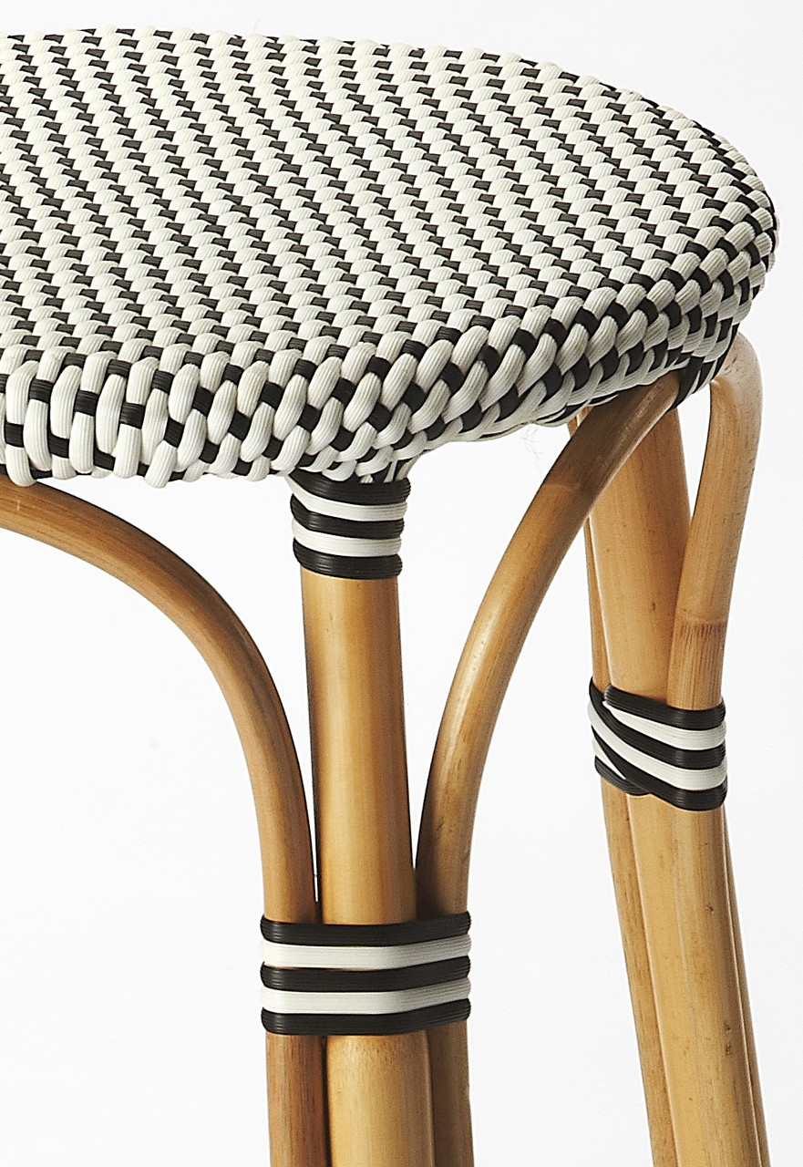 Picture of: Butler Tobias Black White Rattan Bar Stool Furniture East Inc