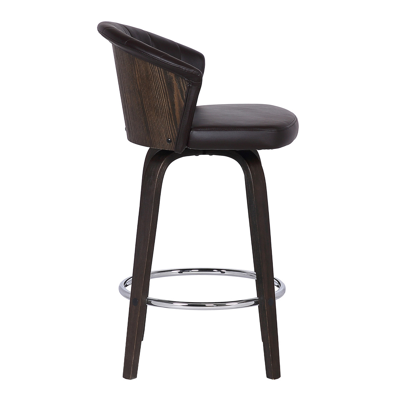 Picture of: Ashley Wood Back 30 Swivel Brown Faux Leather Bar Stool Furniture East Inc