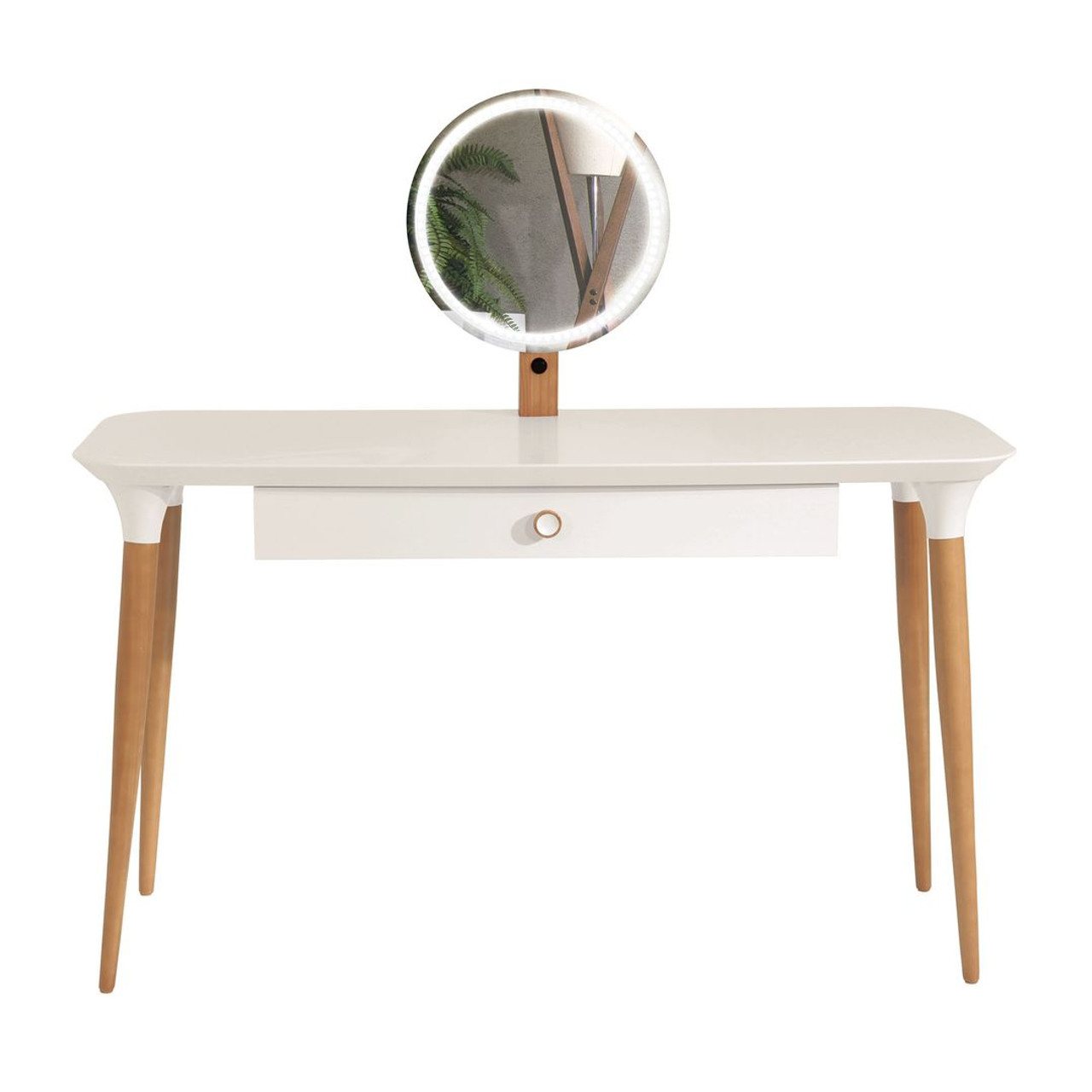 Manhattan Comfort Homedock Vanity Table With Led Light Mirror And Organization In Off White And Cinnamon Furniture East Inc
