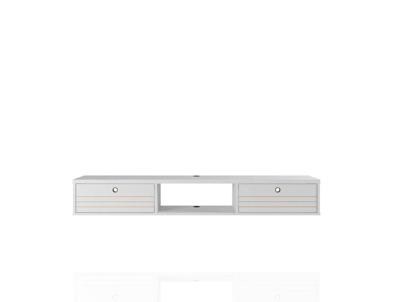 manhattan fort liberty 62 99 mid century modern floating office desk with 3 shelves in white